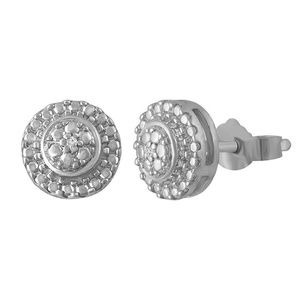 Jewelry - Sterling Silver Halo Style Diamond Accent Earrings